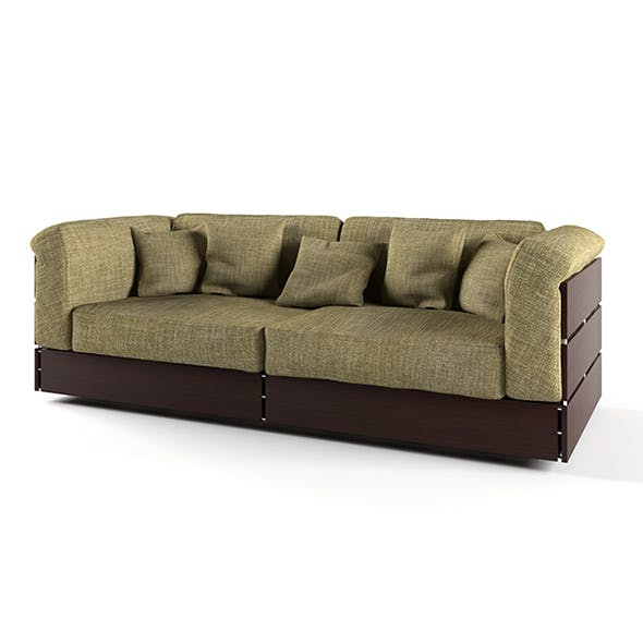 Vray Ready Luxury Green Fabric Sofa - 3DOcean Item for Sale