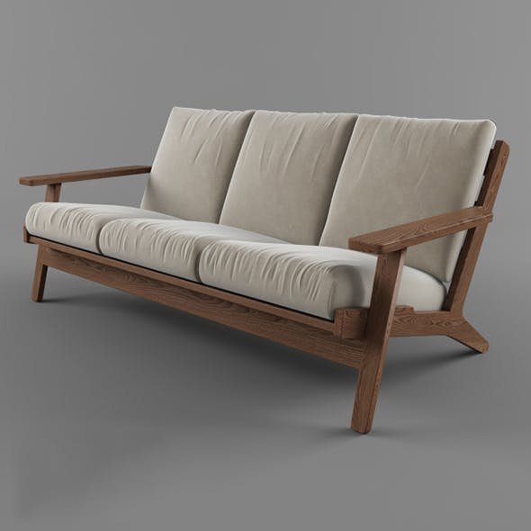 Vray Ready Luxury Wooden Garden Sofa