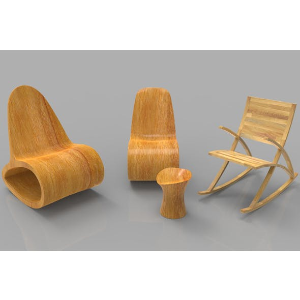 Rocking Wooden Chair Collection - 3DOcean Item for Sale