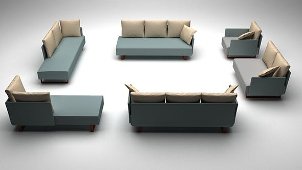 Low poly sofa set - 3DOcean Item for Sale