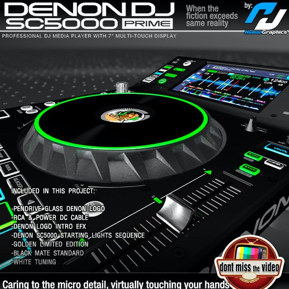 Denon SC5000 Prime - Pro. DJ Media Player, in 3 different skins