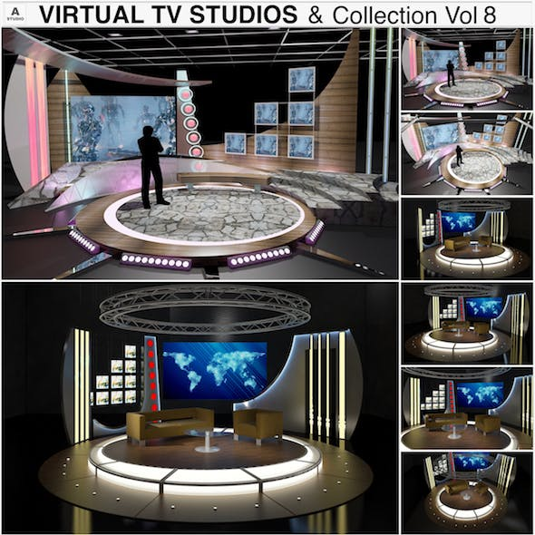 Virtual TV Studio Chat Sets Collection 8