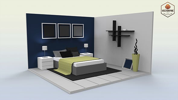 Low Poly Interiors - Bedroom - 3DOcean Item for Sale