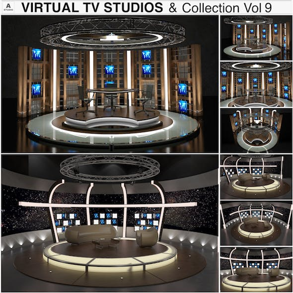 Virtual TV Studio Chat Sets Collection 9 - 3DOcean Item for Sale