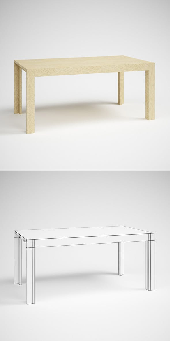 CGAxis Wooden Parsons Table 23 - 3DOcean Item for Sale