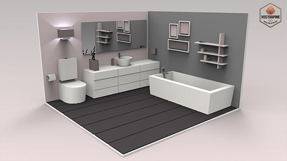 Low Poly Interiors - Bathroom - 3DOcean Item for Sale