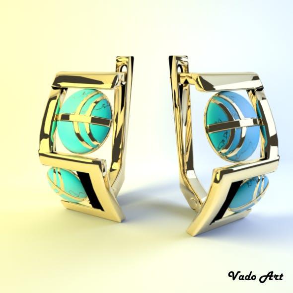 Earrings gold - 3DOcean Item for Sale