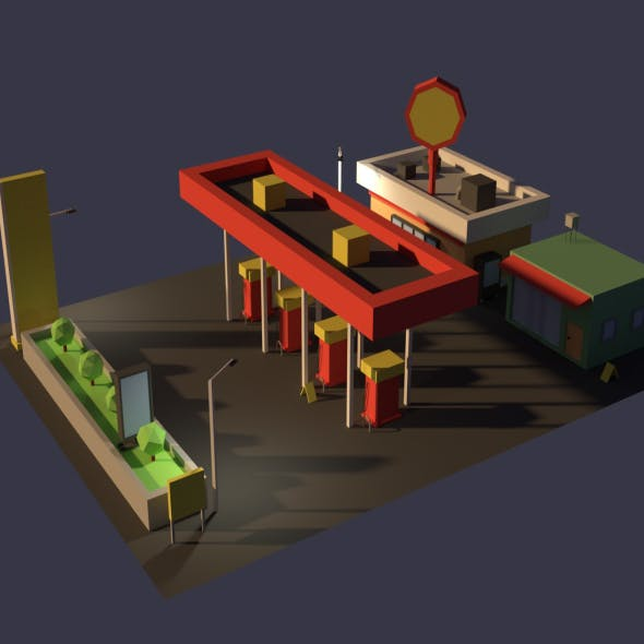 Low Poly Cartoony Gas Station