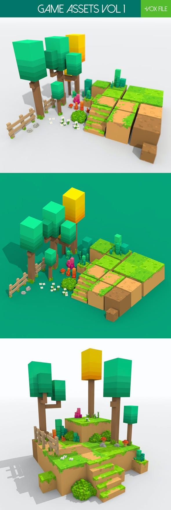 Game Assets Vol 1 - Voxel Art - 3DOcean Item for Sale