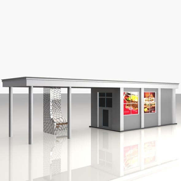 Bus Stop Shelter Food Shop - 3DOcean Item for Sale