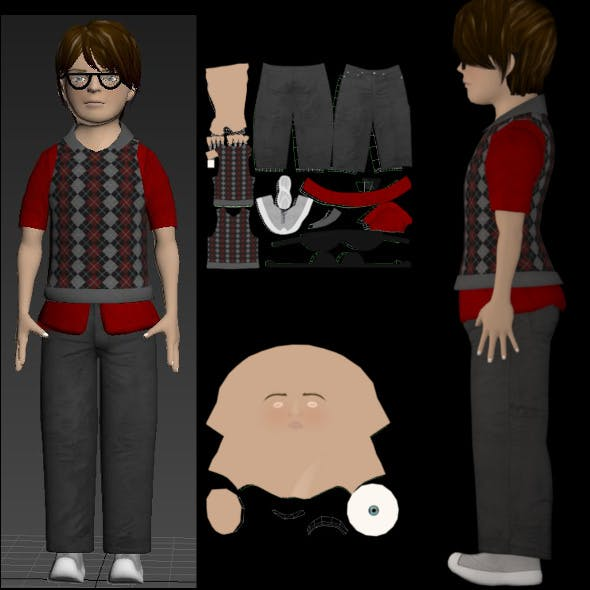 Low Poly Model Male With Texture - 3DOcean Item for Sale