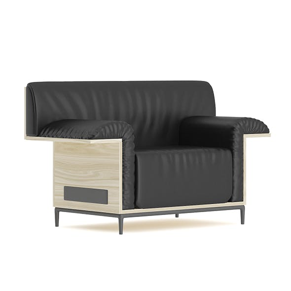 Black Leather Armchair with Wooden Back
