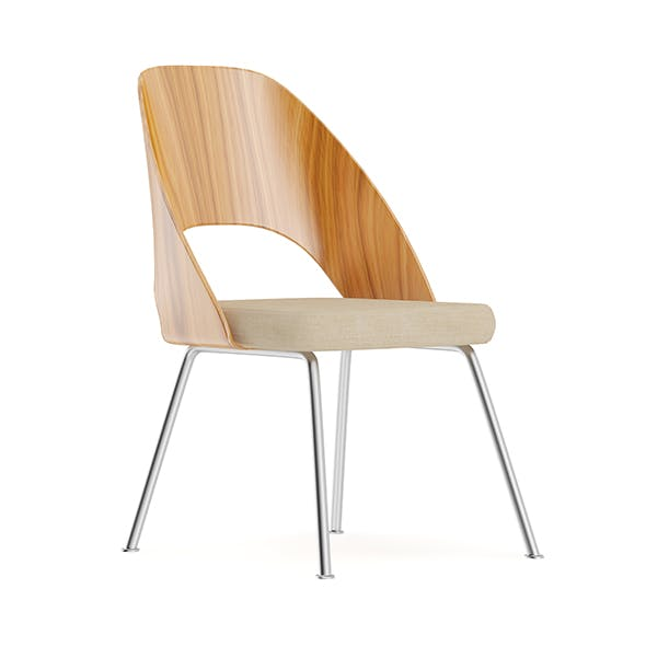 Wood and Metal Chair with Fabric Seat