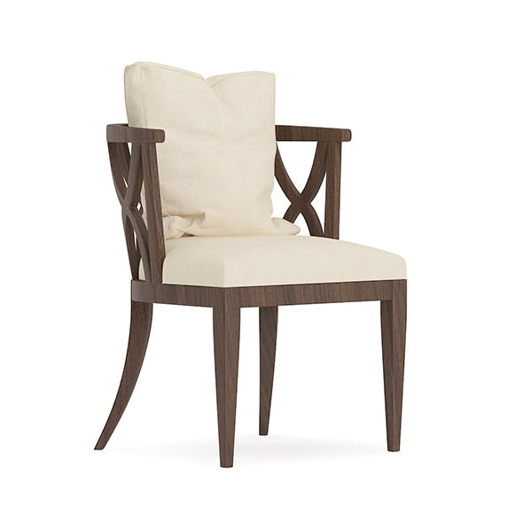 Wooden Chair with Fabric Seat and Pillow - 3DOcean Item for Sale