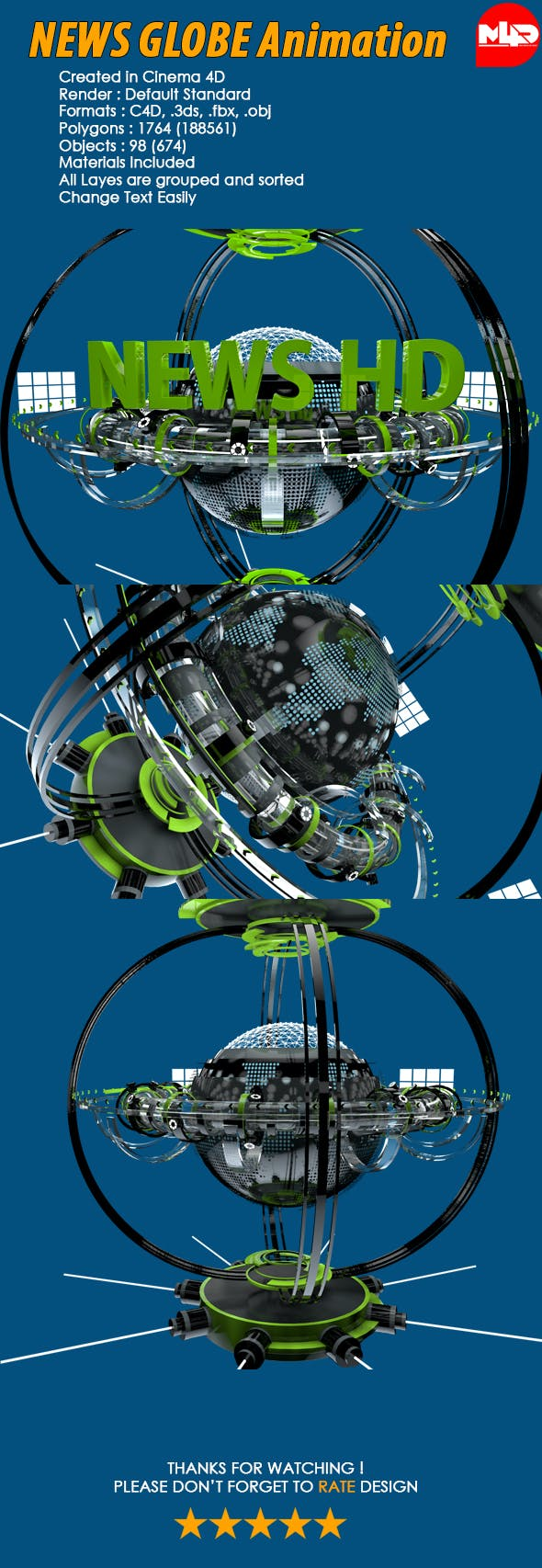 News Globe Futuristic Animation - 3DOcean Item for Sale