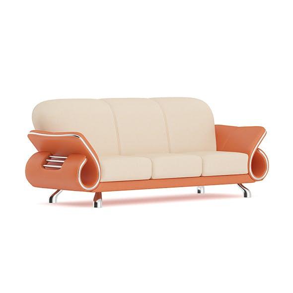 Orange Leather Sofa - 3DOcean Item for Sale