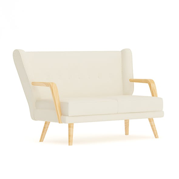 Beige Sofa with Wooden Arms - 3DOcean Item for Sale