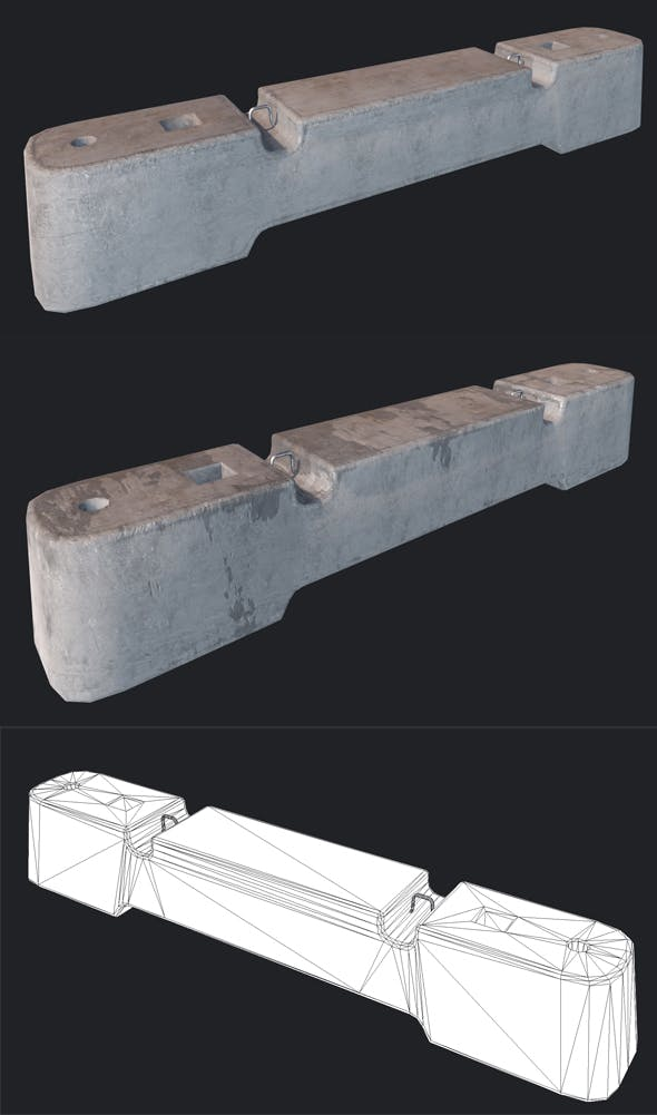 Concrete Barriers PBR - 3DOcean Item for Sale