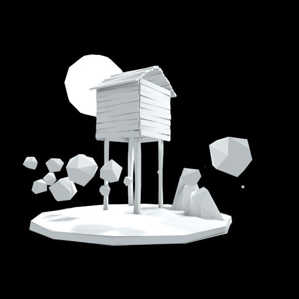 Low-Poly Simple Tree House scene - 3DOcean Item for Sale
