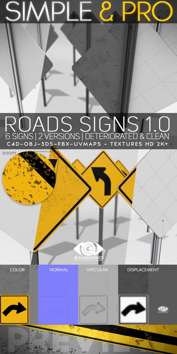 Roads Signs 1.0 & Textures - 3DOcean Item for Sale