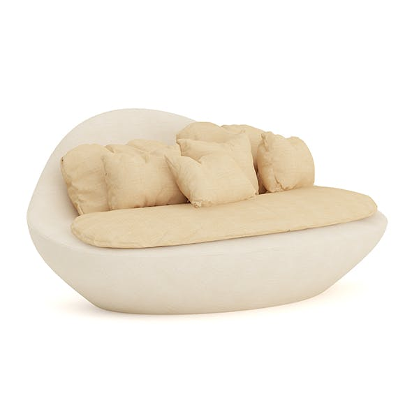 Round Sofa with Pillows - 3DOcean Item for Sale