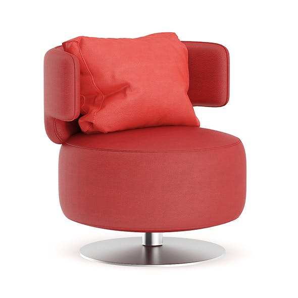 Red Leather Swivel Chair with Pillow