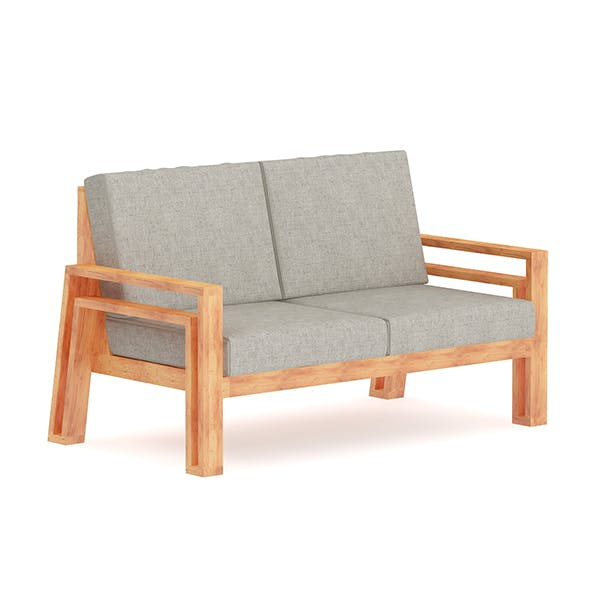 Grey Sofa with Wooden Arms - 3DOcean Item for Sale