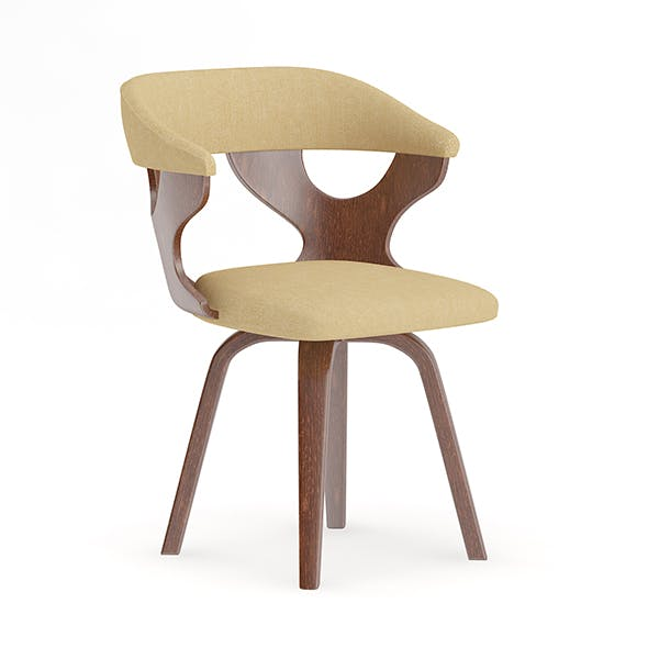 Wooden Chair with Fabric Seat and Back