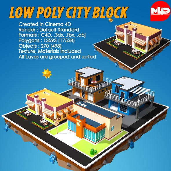 Low Poly City buildings (Coffee shop, Pizza, small builings)
