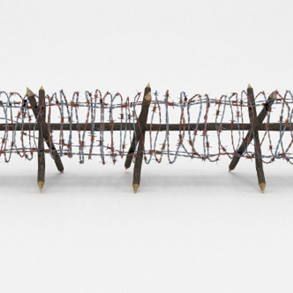 Low Poly Barb Wire Obstacle 12