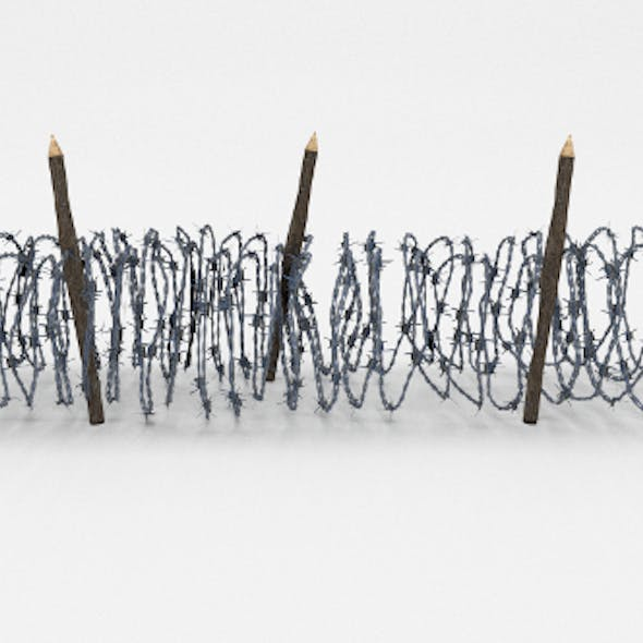 Low Poly Barb Wire Obstacle 15