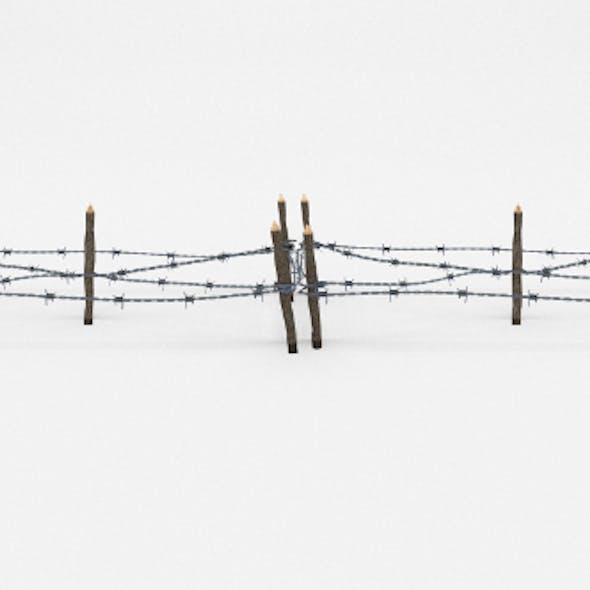 Low Poly Barb Wire Obstacle 17