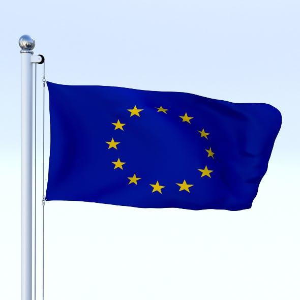 Animated European Union Flag - 3DOcean Item for Sale