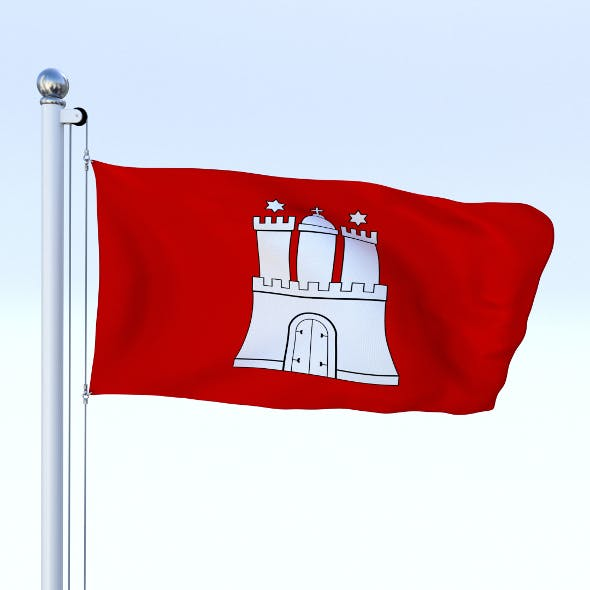 Animated Hamburg German State Flag - 3DOcean Item for Sale