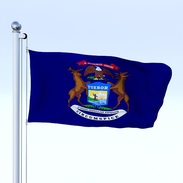Animated Michigan Flag - 3DOcean Item for Sale