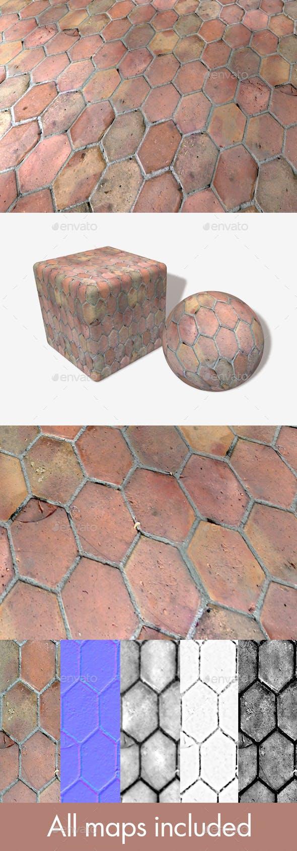 Long Hexagon Old Floor Tiles - 3DOcean Item for Sale