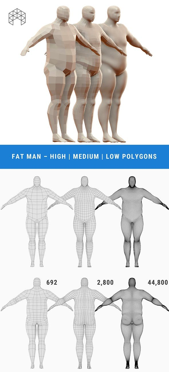 Fat Man Base Mesh - 3 Files - 3DOcean Item for Sale