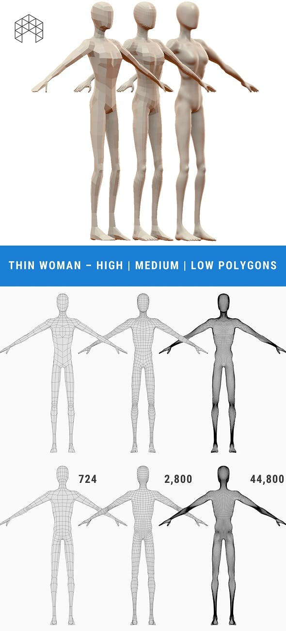 Thin Woman Base Mesh - 3 Files - 3DOcean Item for Sale