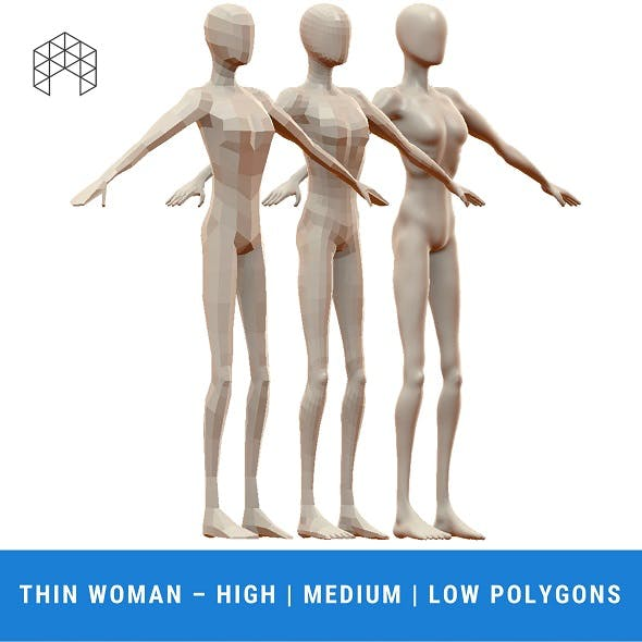 Thin Woman Base Mesh - 3 Files