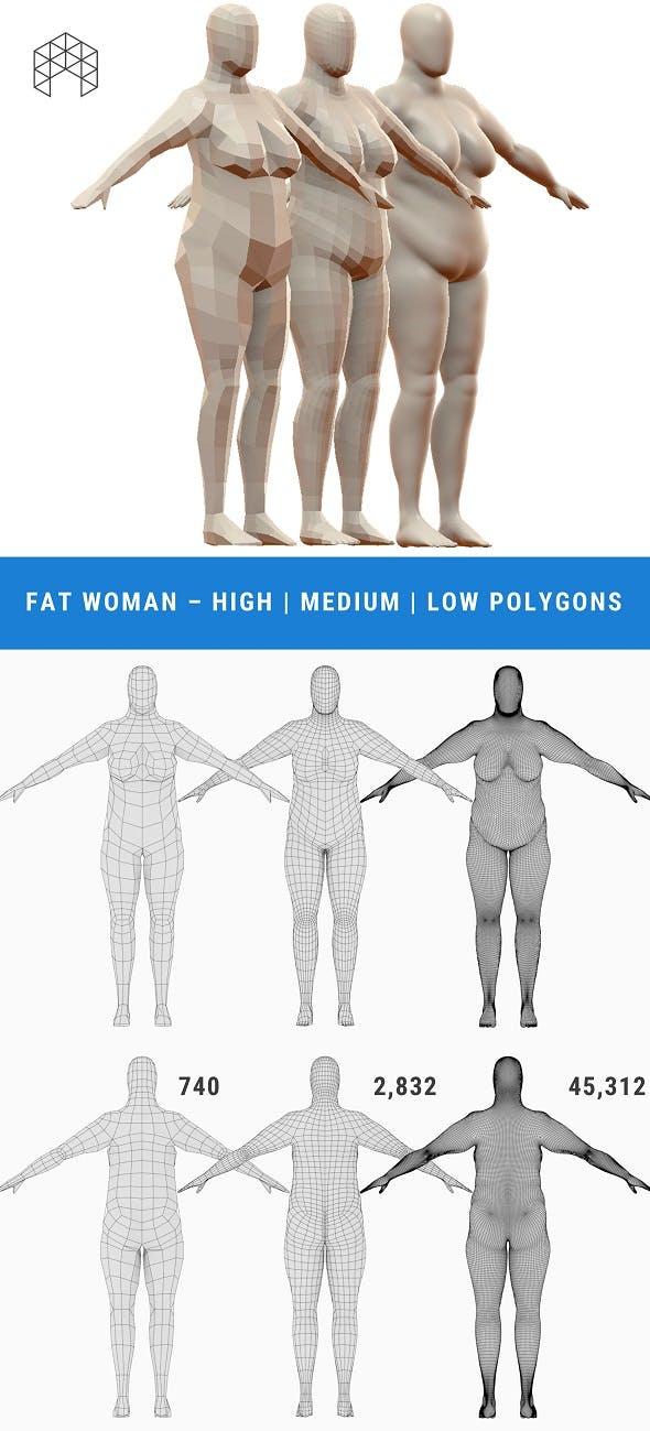 Fat Woman Base Mesh - 3 Files - 3DOcean Item for Sale