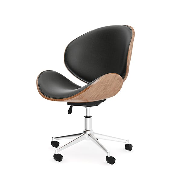 Wood and Leather Swivel Chair
