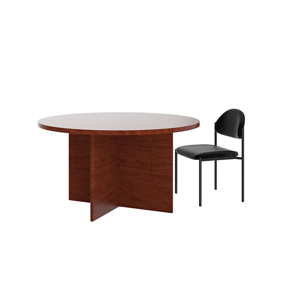 Round Table with Black Chair - 3DOcean Item for Sale