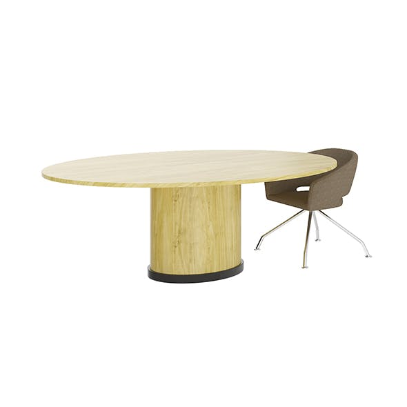 Eliptical Table with Beige Chair