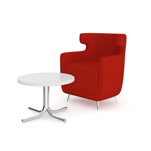 Red Armchair with Coffee Table - 3DOcean Item for Sale