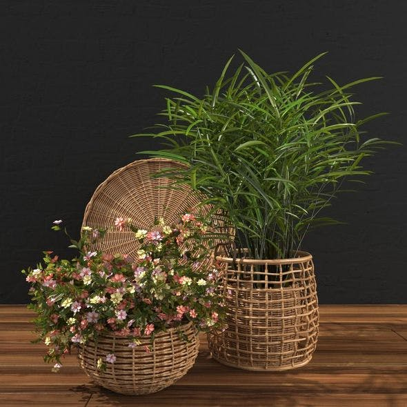 Flowers in a wicker pot - 3DOcean Item for Sale