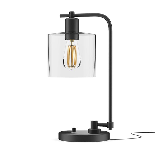 Black Desk Lamp with Glass Shade