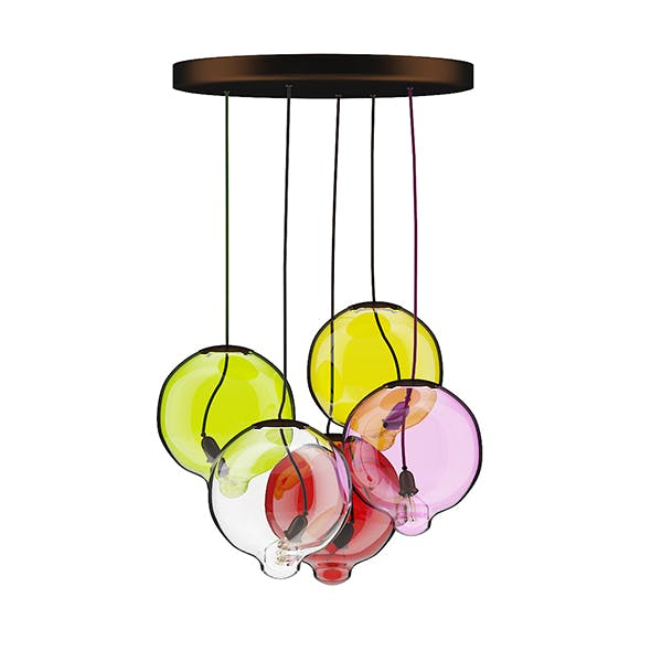 Colored Glass Ceiling Lamp - 3DOcean Item for Sale