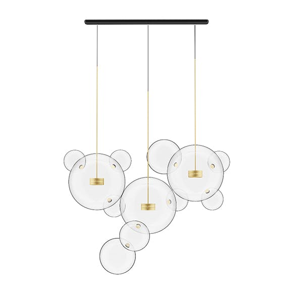 Golden Ceiling Lamp with Glass Shades