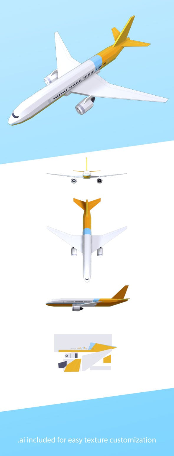 Low-Poly Commercial Airplane 777 - 3DOcean Item for Sale