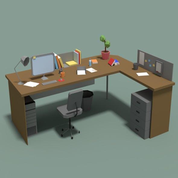 Low Poly Cartoony Office Desk - 3DOcean Item for Sale